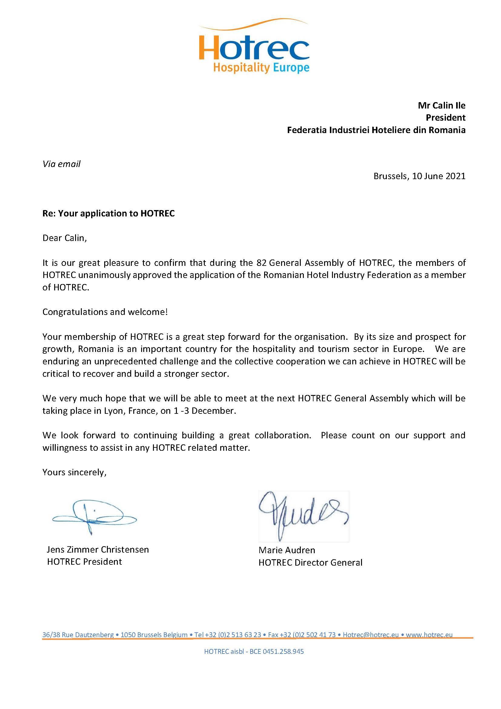 HOTREC Letter Application