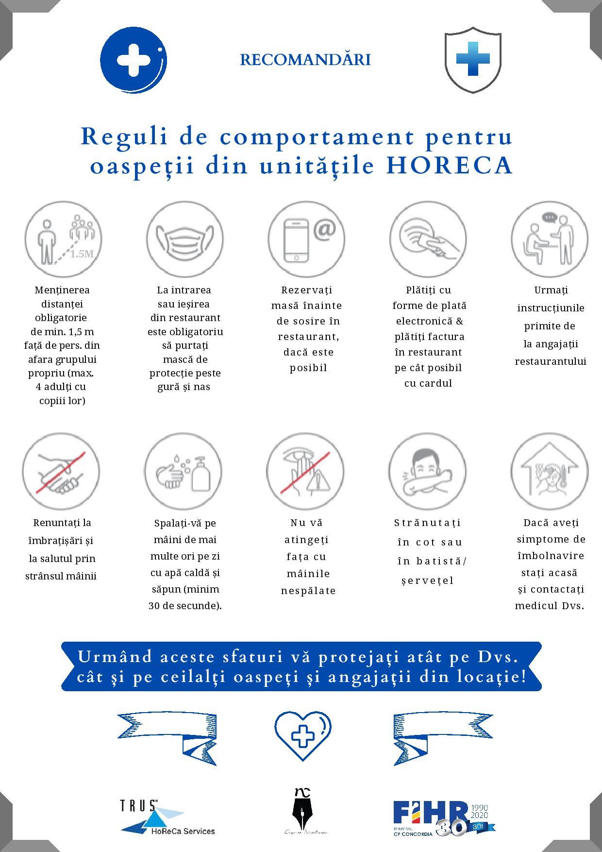Reguli de comportament al oaspeților și angajaților & măsuri de siguranță în unități HORECA