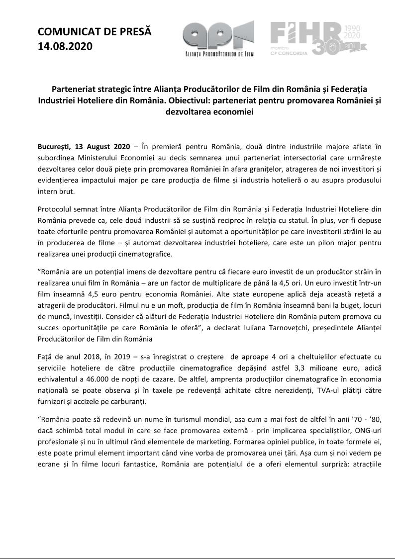 Parteneriat strategic între Alianța Producătorilor de Film din România și Federația Industriei Hoteliere din România. Obiectivul: parteneriat pentru promovarea României și dezvoltarea economiei