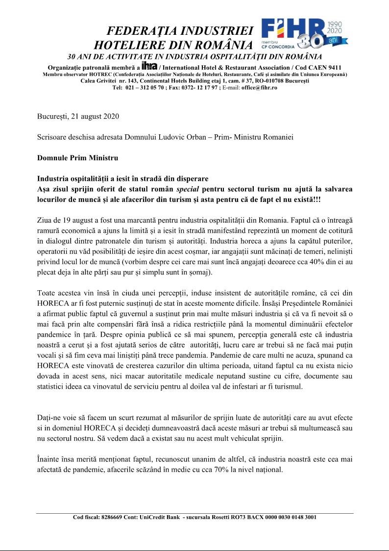 Scrisoare deschisă FIHR către Premierul României