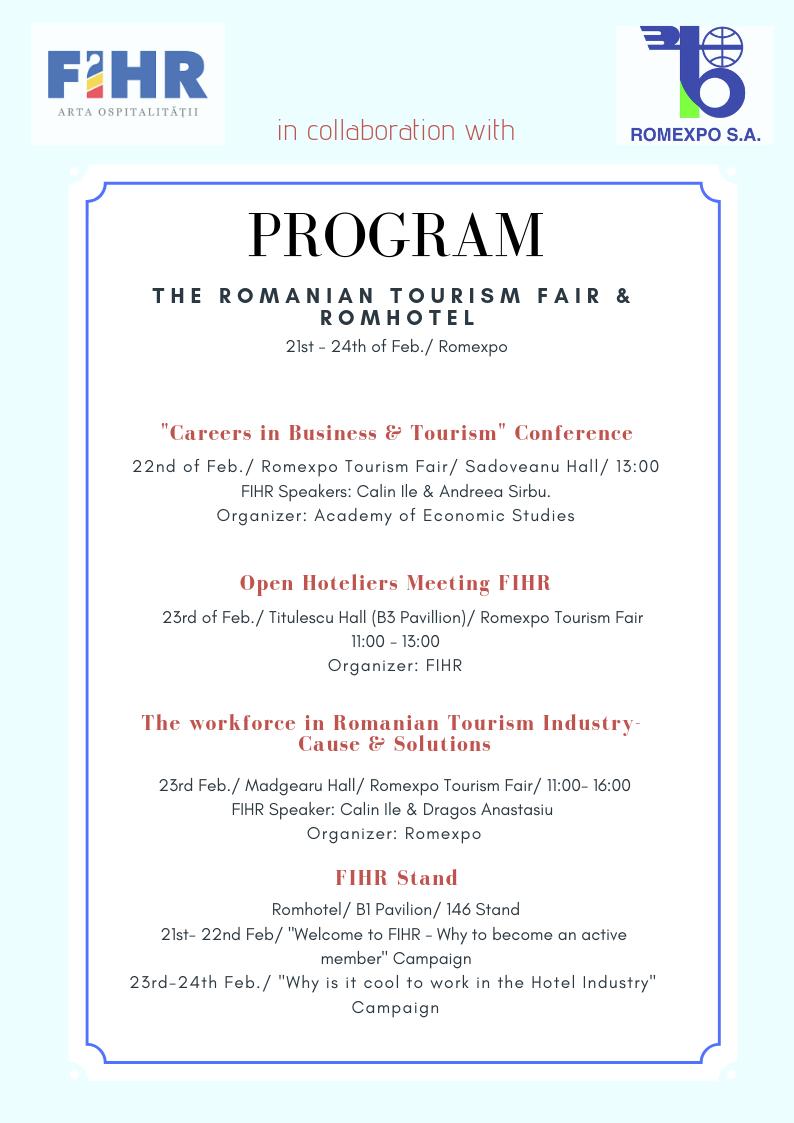 Program The Romanian Tourism Fair & ROMHOTEL